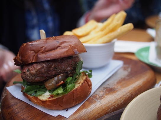 Wagyu burger with chips